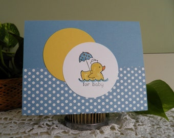 Baby Card with Duck, Baby Boy, Baby Girl, Baby Shower, Baby Cards, Handmade, New Baby, Congratulations, Duck, Hand Stamped