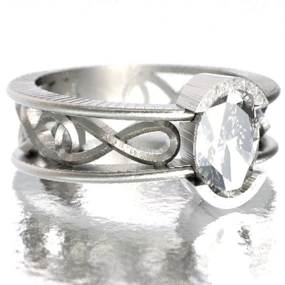 Engagement Ring with Moissanite with Celtic Inifinty Knot Design in Sterling Silver, Made in Your Size CR-13d