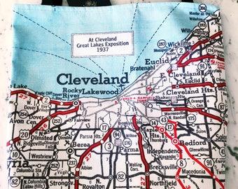 Cleveland Map Tote - Cleveland Map Bag - Cleveland Tote Bag - Cleveland Bag - Travel Tote - Cleveland Tote - Bachelorette Party
