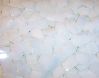 100 1/2 Inch White Stained Glass Mosaic Tiles