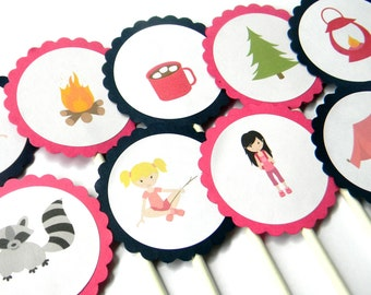 12 Girl Camping Cupcake Toppers, Camping Theme, Camping Birthday, Glamping Birthday, Outdoor Birthday, First Birthday, Camping Theme