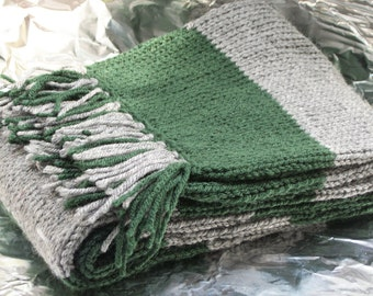 Hand Knitted Green and Gray Deluxe Scarf