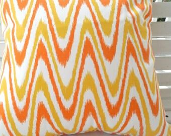 Yellow Orange Outdoor Pillow Cover Abstract Chevron Patio Porch Decorative Throw Pillow Cushion Candy Corn Ziggly Citrus