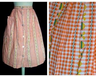 Original Vintage 1950's Gingham and White Stripe Skirt Deadstock