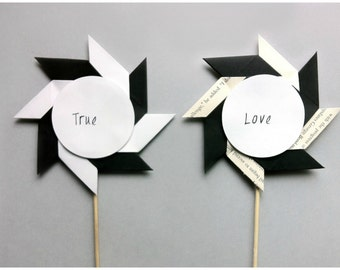 Wedding Cake Topper / Mr and Mrs Cake Topper / Pinwheel Cake Topper / Bridal Shower Toppers / Black and White Cake Topper / Book Page Topper
