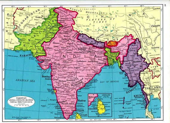 Items similar to india south asia map and afghanistan map 1960s cram items similar to india south asia map and afghanistan map 1960s cram atlas pakistan burma nepal sri lanka on etsy gumiabroncs Image collections