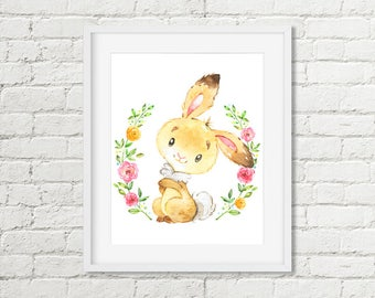 Bunny Printable Woodland Nursery Art Girls Room Decor Watercolor Print Floral Rabbit Printable Wall Art 8x10 Instant Digital Download