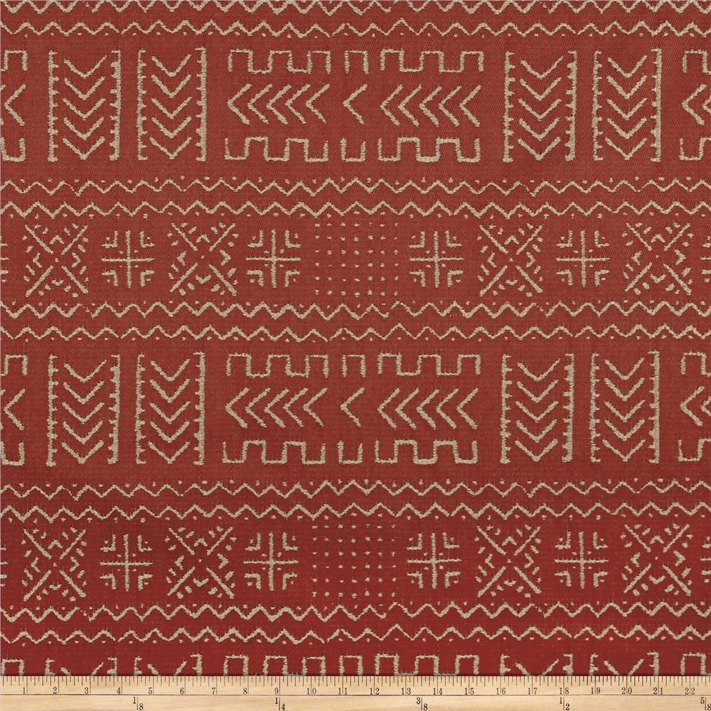 Per Yard Mud Cloth Rust Color Fabric Printed On Duck Canvas
