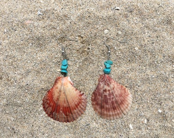 Red scallop shell earrings with turquoise beads