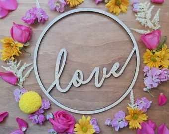Love sign. Hoop signage. Round sign. Wood sign. - Small