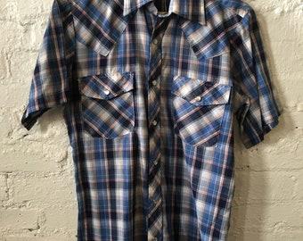 Vintage Recess Western Style Plaid Slim Fit Short Sleeve Shirt