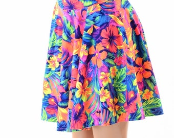 Neon UV Glow Tahitian Floral Print Skater Skirt Full Circle Stretchy Lycra Skirt -152840