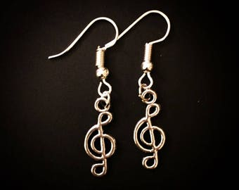 Silver Music Clef Note Musician Dangle Hook Earrings