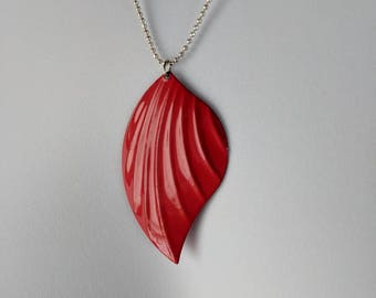 Bright Red Teardrop Pendant Necklace on a silver bead chain
