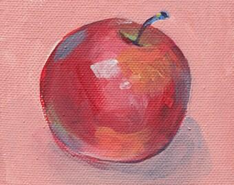 Bild Apfel. Original Gemälde. Leinwand. Küchendeko. Malerei. Stillleben. Wohnungseinweihung. Wanddekoration. Kleine Leinwand. Geschenk