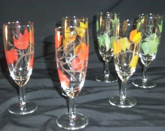6 hand painted champagne flutes