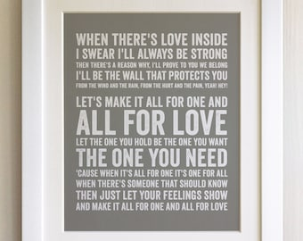 FRAMED Lyrics Print - Bryan Adams, All For Love - 20 Colours options, Black/White Frame, Wedding, Anniversary, Valentines, Fab Picture Gift