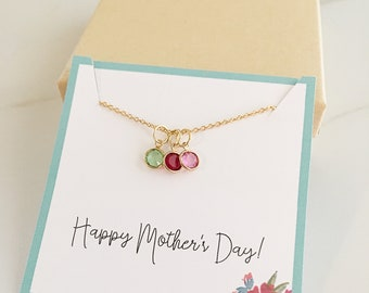 Mom Birthstone Charm Necklace - Mother's Day Personalized - Mom Necklace Birthstone - Mother's Day Gift - Mom Gift - Gold Necklace
