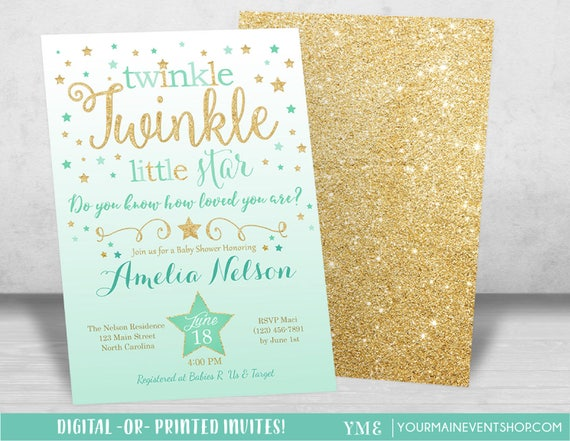 Mint and Gold Twinkle Twinkle Little Star Baby Shower Invitation, Twinkle Twinkle Shower Invitation, Gender Reveal, Neutral Baby Shower