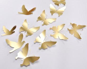 16 Gold Butterfly Wall Decor, Gold Butterfly Wedding Decoration, Gold Wedding Butterflies, Gold Paper Butterflies