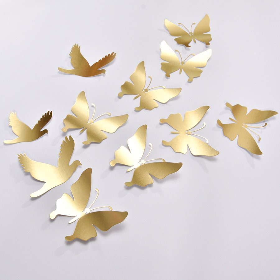 16 Gold Butterfly Wall Decor Wedding