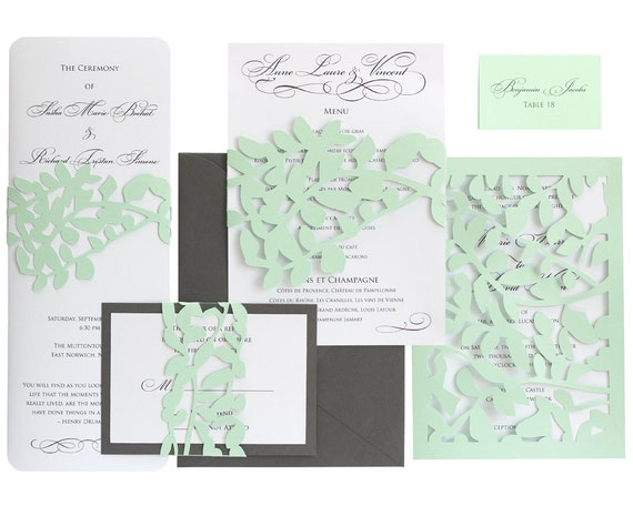 Leaf lace wedding invitations mint green slate gray junglespirit Gallery