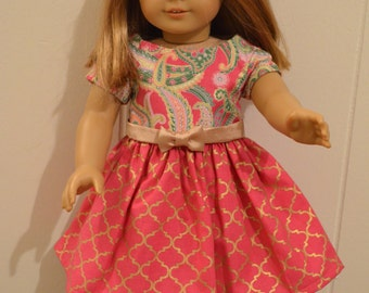 "18"" Doll Clothing: Easter Dress, Rose Pink/Gold With Paisley Top"