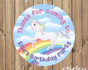 Personalized Birthday Party Stickers, Birthday Party Labels, Birthday Party Favors, Party Favours, Party Favour Stickers, Unicorn Birthday