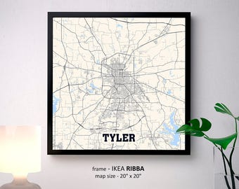 Tyler Texas Map Print, Tyler Square Map Poster, Tyler Wall Art, Tyler gift, Custom Personalized map