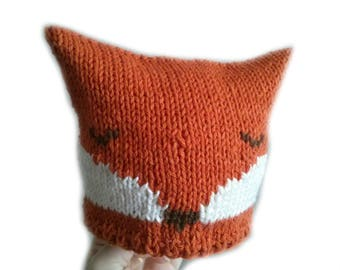 Fox Hat, Knit Baby Hat, Knit Fox Hat, Baby Shower Gift, Baby Gift, Knit Hat