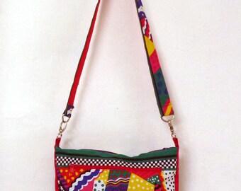 shoulder bag in cotton, zipper pull, multi colors