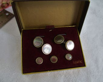 Vintage Art Deco Swank Abalone Shell Stud Set with Matching Cufflinks and Button Studs in Original Box C1940's  Wedding Gifts, Mens Gifts