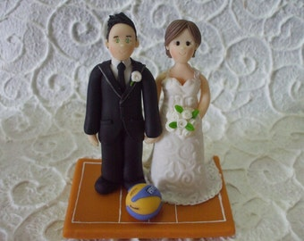 custom bride and  groom volley wedding cake topper