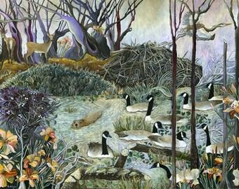 Beaver Lodges Art Print of Original Painting
