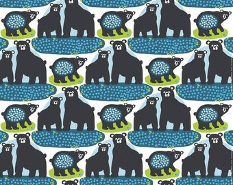Curtain panel white black green Bear blue Berries Modern Decor Cafe curtain Kitchen valance , runner , napkins available, great GIFT