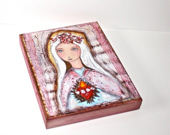 Sacred Love - Immaculate Heart of Mary - Giclee print mounted on Wood (5 x 7 inches) Folk Art  by FLOR LARIOS