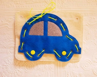 Felt Car Lacing Card - Lacing Busy Book - Car Busy Book - Quiet Time Activity - Busy Bag Activity - Felt Lacing Toy - Car Sewing Game