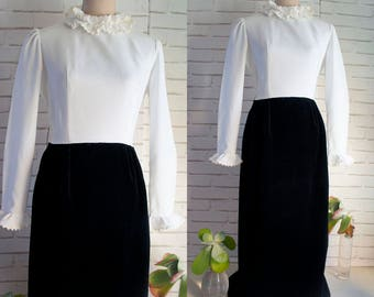 70s Vintage Maxi Dress - Color block maxi dress - Ruffled collar maxi dress - m size maxi dress
