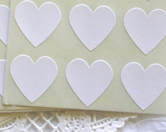 Large WHITE Heart Stickers, Sticker Seals, 6 COLORS