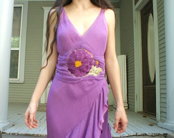 SALE NEW LISTING Flower Power Dress Collection Chiffon layered/lined with 1920's huge flower appliqué