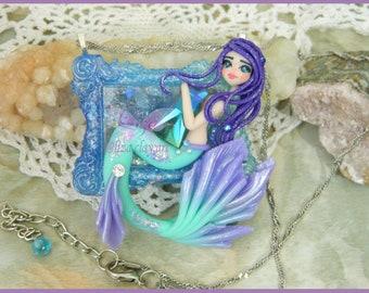 Mermaid Necklace / Mermaid Jewelry / Polymer Clay Mermaid