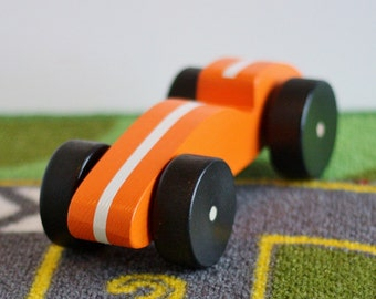 Toy Orange Wood Race Car - Handcrafted Wooden Toy Orange Race Car with White Stripe and Black Wheels - Derby Racer