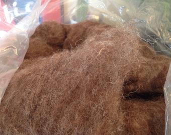 Goat hair batt roving brown felting, spinning wool fleece