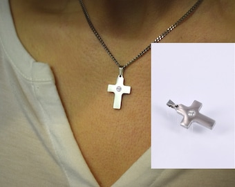 Pendant cross small with cubic zirconia white