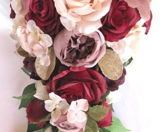 Silk wedding flowers bridal bouquets roses and by rosesanddreams 17 piece wedding bouquet package bridal bouquets artificial silk flowers burgundy blush peach mauve silk flower centerpiece rosesanddreams mightylinksfo