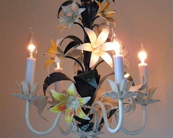 Vintage Tole Chandelier Italian Antique Chandelier Lilies 4 Lights and a World of Charm! at LightsFantastic