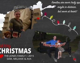 Christmas Card, Photo Christmas Card, Photo Holiday Card, Double Sided, DIY Printable Christmas Card, Deployment Christmas Card, Countries