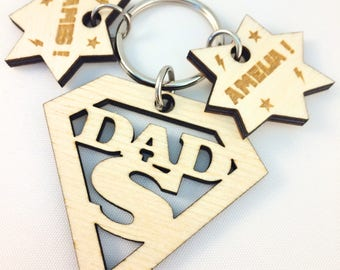 Personalised Superman Keyring, Fathers Day Gift Idea, Wooden, Superhero, Gift for Dad, Gift for Grandad, Superdad, keychain