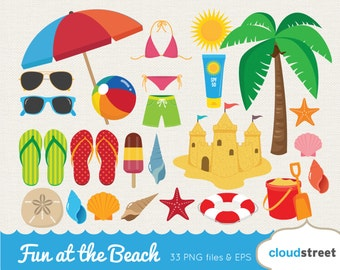 BUY 2 GET 1 FREE Fun at the beach clipart / vector beach clip art / summer clipart / summer clip art / tropical clipart / commercial use ok