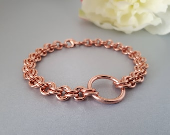 Endless: Solid Copper Chainmaille Bracelet with Central Copper Circle
